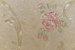Eeuwenoud behang als achtergrond van bloemen royalty-vrije stock afbeelding