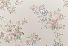 Eeuwenoud behang als achtergrond van bloemen Stock Fotografie