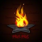 Eeuwige brand, lint St George ` s, Russische vakantie 9 Mei, Victory Day Een groetkaart, een dag van geheugen Stock Foto's