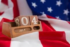 Eeuwige kalender op Amerikaanse vlag Royalty-vrije Stock Afbeeldingen