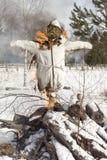 Efígie ardente Maslenitsa Fotos de Stock