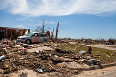 EF5 tornado in Moore - Oklahoma. MOORE, OKLAHOMA (USA) - MAY 20th 2013. EF5 tornado strikes the city of Moore, Oklahoma. The whole town is abolished. These Royalty Free Stock Photography