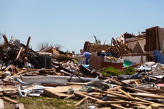 EF5 tornado in Moore - Oklahoma. MOORE, OKLAHOMA (USA) - MAY 20th 2013. EF5 tornado strikes the city of Moore, Oklahoma. The whole town is abolished. These Royalty Free Stock Image