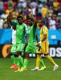 Efe Ambrose , John Obi Mikel and Vincent Enyeama Coupe du monde 2014 Stock Photo