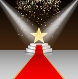 Efectúe el podio con la alfombra roja y la estrella en fondo marrón libre illustration