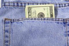 Efectivo del bolsillo Imágenes de archivo libres de regalías