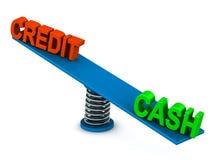 Efectivo o crédito stock de ilustración