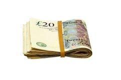 Efectivo plegable - notas de 20 libras Imagen de archivo libre de regalías