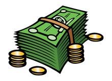 Efectivo y monedas Foto de archivo libre de regalías