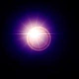 Efecto azul del sol de la llamarada de la lente Fotografía de archivo