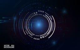 Efecto azulado de la tecnología sobre el fondo oscuro para la presentación y la plantilla del negocio ilustración del vector