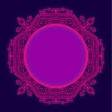 Efecto brillante del resplandor del whith del marco del cordón del círculo del vector imagenes de archivo
