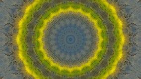 Efecto caleidoscópico sobre un tablero de madera azul y amarillo ilustración del vector