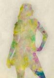 Silueta coloreada extracto Stock de ilustración