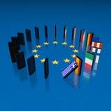 Efecto de dominó de la crisis de Eupopean Fotos de archivo