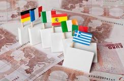Efecto de dominó de la crisis euro de la deuda Imagenes de archivo