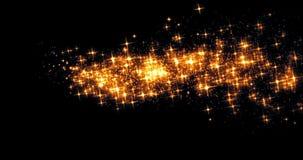 Efecto de la chispa de la transición de la cola del bokeh de las estrellas del resplandor del oro que brilla sobre el fondo negro stock de ilustración