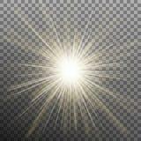Efecto de la explosión de la luz del resplandor sobre fondo transparente Vector del EPS 10 Ilustración del Vector