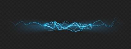 Efecto de la fuerza de la naturaleza del relámpago potente de la carga con las chispas EPS 10 ilustración del vector