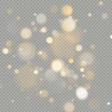 Efecto de los círculos del bokeh aislados sobre fondo transparente Elemento anaranjado caliente del brillo de la Navidad que bril stock de ilustración