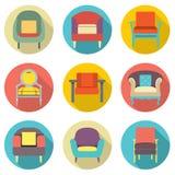Efecto de sombra largo del diseño plano Sofa Icons Set Fotografía de archivo