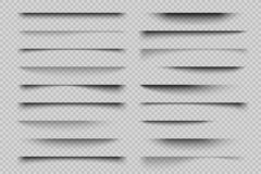 Efecto de sombra de papel Sombras cubiertas transparentes realistas, sombra de la bandera de la tarjeta de visita del aviador del stock de ilustración