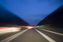 Efecto de túnel sobre la carretera Foto de archivo