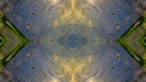 Efecto del espejo sobre un tablero de madera azul stock de ilustración