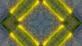 Efecto del espejo sobre un tablero de madera azul con las líneas amarillas stock de ilustración