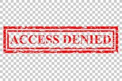Efecto del sello de goma, acceso negado, en el fondo transparente del efecto stock de ilustración