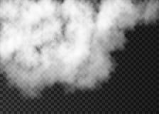 Efecto especial de la niebla blanca sobre fondo transparente Fotos de archivo libres de regalías