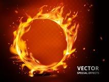 Efecto especial del aro llameante ilustración del vector