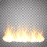 Efecto especial del fuego del vector realista de la llama aislado sobre fondo transparente stock de ilustración