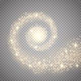 Efecto luminoso de la estrella mágica abstracta del resplandor Rastro chispeante de la estrella del polvo con el bokeh Imagenes de archivo
