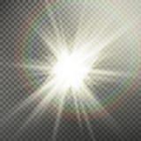 Efecto luminoso de la llamarada especial de la lente de la luz del sol Efecto especial de la flama ligera Aislado en fondo transp libre illustration