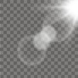 Efecto luminoso de la llamarada especial de la lente de la luz del sol sobre fondo transparente Vector Imagen de archivo libre de regalías