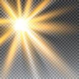 Efecto luminoso de la luz del sol del vector de la llamarada especial transparente de la lente Imagen de archivo libre de regalías