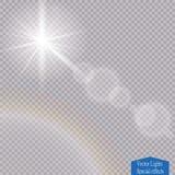 Efecto luminoso de la luz del sol del vector de la llamarada especial transparente de la lente Fotos de archivo