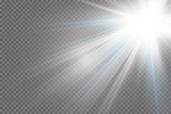 Efecto luminoso de la luz del sol del vector de la llamarada especial transparente de la lente ilustración del vector