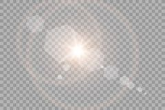 Efecto luminoso de la luz del sol del vector de la llamarada especial transparente de la lente Flash de Sun con los rayos y el pr ilustración del vector