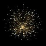Efecto luminoso del brillo de fibra óptica sobre fondo negro con polvo de estrella de la partícula Imagen de archivo