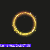 Efecto luminoso del círculo del oro, efecto luminoso brillante de oro Imágenes de archivo libres de regalías