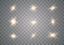Efecto luminoso del oro que brilla intensamente ilustración del vector