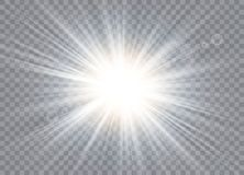 Efecto luminoso del resplandor Explosión de la estrella con las chispas stock de ilustración