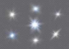 Efecto luminoso del resplandor Explosión de la estrella con las chispas Dom Foto de archivo