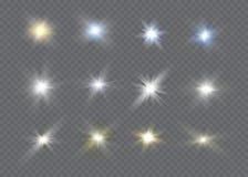 Efecto luminoso del resplandor Explosión de la estrella con las chispas Dom Foto de archivo libre de regalías