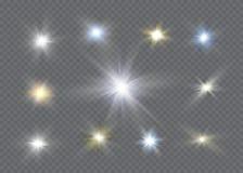 Efecto luminoso del resplandor Explosión de la estrella con las chispas Dom Fotos de archivo libres de regalías