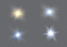 Efecto luminoso del resplandor Explosión de la estrella con las chispas Dom Fotografía de archivo libre de regalías