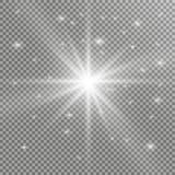 Efecto luminoso del resplandor Explosión de la estrella con las chispas Luces que brillan intensamente de oro Foto de archivo