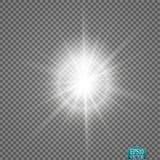 Efecto luminoso del resplandor Explosión de la estrella con las chispas Luces que brillan intensamente de oro Fotos de archivo